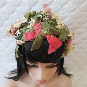 Accessories - Vintage Flower and Green Leaf Hat